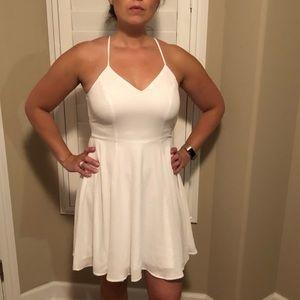 EXPRESS white halter skater mini dress
